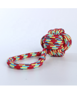 Smarty Pet Cotton Rope Braided Ball Play Fetch Toy with Handle