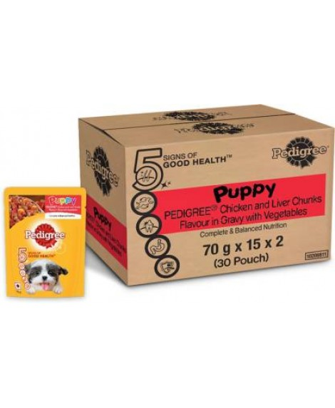 Pedigree Gravy Puppy Chicken And Liver Chunks Flavor With Vegetables 70g x 30Pouches