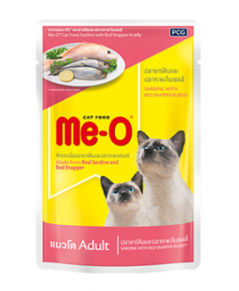 Me-O Adult  Wet Food Sardine with Red Snapper in Jelly, 80g