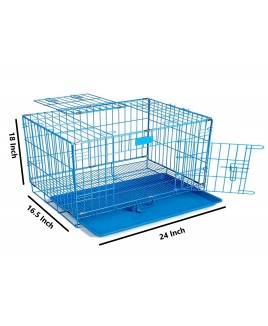 Dog Cage With Removable Tray (Blue, 24 Inch)