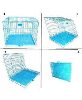 Dog Cage with Removable Tray (Blue, 18 Inch)