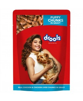 Drools Puppy Real Chicken and Chicken Liver Chunks in Gravy, 24 Pouches (24 x 150g)
