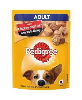 Pedigree Adult Chicken & Liver Chunks in Gravy 70g